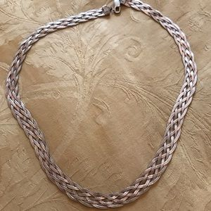 Flat braided silver necklace